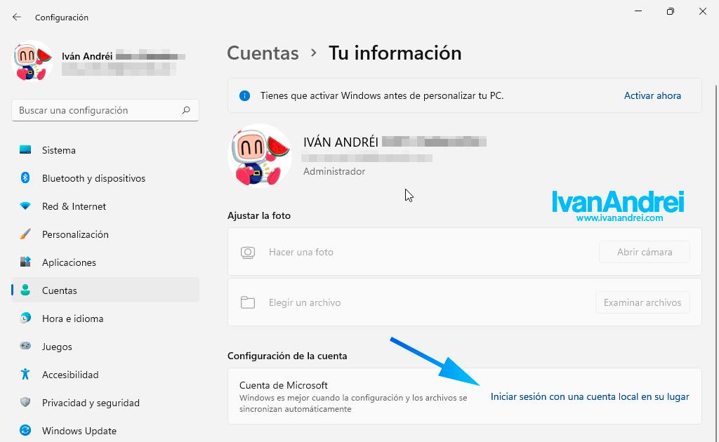 Windows 11 - Configuración - Cuenta local